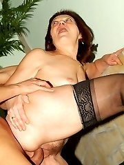 Curvy mature redhead Paula swigging down a huge meaty prick and cramming it into her snatch