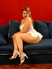 Plump model pulls down her tiny violet dress