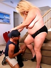 Horny fatty Jenna hooks up with a guy she just met and takes him home to check out his package