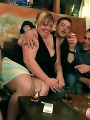 The BBW orgy finds big ass and big titty chicks having sex in the bar after drinking all night