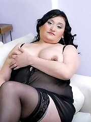 Pretty plumper just got laid and plays with her tits while a hunk covers it with fresh man juice