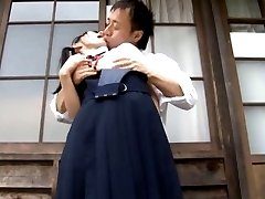 Sae Aihara Asian in uniform has boobs touched OutdoorJp.com