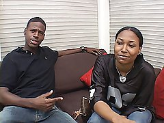 Fooball jersey wearing ghetto teen gets pimped in lingerie and black dick riding