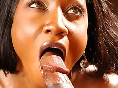 Busty lady Diamond Jackson gives a sinful blowjob and gets her injected by big black dong