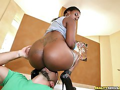 Fucking hot ass black babe power fucked hard and cumfaced in these big booty fuck pics