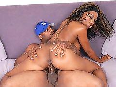 Sexy black chick loves big fat dicks