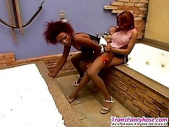 Stunning shemale in control top tights fucking before messy facial cumshot