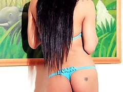 Horny Latina Tranny stroking her shaved shecock