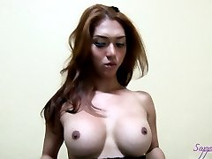 Asian Shemale SAPPHIRE playing with her cock