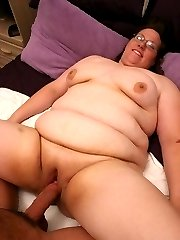 Mature bbw Lorelie seduces a much younger guy into plowing her chubby pussy with his dick
