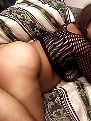 Black fatty Candy Love gets her throat stretched with cock before getting her pussy wet with cum