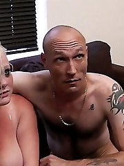 Pervy BBW slut asks couple for help and seduces husband into raw fucking