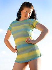 Fatty rubs her slit while sunbathing at lakeshore