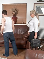 Lovely BBW salesgirl with blonde hair and black stockings fucks client for a sale