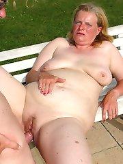Chubby Euro-slut sucks cock and swallows cum!
