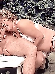 Chubby blonde having a perspiring bush fucking session