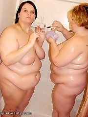 Warm naked fat girls frolic in the shower