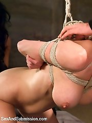Marionette girl Veronica Avluv is shared by Isis Love and Dane Cross in this threesome BDSM fuckfest.