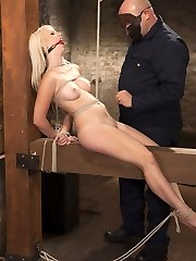 HogTied brings you the hottest babes first - All natural big boob blonde babe tied, spanked, clipped, pinched and reached an orgasm for the first time on Kink.com