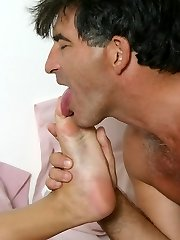 Blonde39s Foot in the Bed Licked and Sucked by Mature Guy