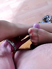 Leggy hottie gets her nyloned feet licked and sucked for hardcore foot sex