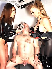 Horny femdoms Mistress Carly and Bex enjoy humiliating these sissy sluts in a cock milking contest