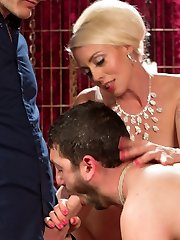 Lorelei Lee has had enough of her pathetic slave, Jay Wimp, and his inability to delight her. So she enormously humiliates him and takes what she wants. She slobbers on him, torments his pipe and scrotum, makes him lick food from the floor, puts his worthless chisel in chastity, and pegs him hard...all so he can prove how much he wants to please her. But his efforts are in vain. In a final humiliation, Lorelei cuckolds him, making him suck another man's cock and then see as she rides him to climax again and again. Finally sated, Lorelei makes her marionette eat the other guy's cum, then discards him.