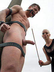 Our eastern European expeditions continue with Mistress Lorelei Lee at an elder meat factory in the countryside of the Czech Republic where Fetish Liza, part of our European Divine Bitch sector, has left one fortunate euro slave boy naked and bound in the cold for Lorelei to test out. These men have never had dolls like Domina Lorelei Lee, a true California beauty, taunt their cocks before and their hard-ons don't lie! With every slash of the flog Ivo just gets stiffer and harder until he's salivating all over himself. He's made to idolize her good booty in pantyhose and gets strap-on bum smashed and his spunk-pump is still hard as a rock! At some point Lorelei decides she must put him through the ultimate challenge and she mummifies him on the train tracks with only his salami and his gullet rammed with a faux-cock gag exposed. She rides that fake penis on his face so close that he can scent the sex emanating from her delicious cunt. His dick is throbbing at this point but unlucky for him and much to Lorelei's pleasure the train is coming and either he cums or he is left bound on the tracks for the ultimate denial!