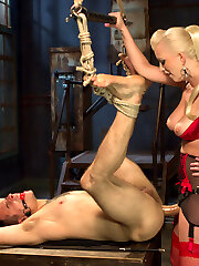 Like most guys, Corbin Dallas's chisel won't stop cascading when around Domina Cherry Torn, because of this he must be punished. Cherry puts him in tight restrain bondage and spanks his ass rigid but his man meat just resumes to spew boy mess. Corbin even loses his stream unexpectedly, so Miss Torn locks him away in chastity and even locks the last key to his belt in the clear firm plastic so he has to stare at his key to freedom forever! Cherry torments him by stuffing a dildo gag in his mouth while locked away and fucks his face dripping her slit juice so close to his gullet yet so far away.