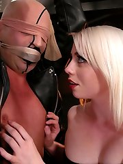Vin has problems obeying orders and Mistress Lorelei Lee is in charge of extracting his submission.  After ripping her stockings he is gagged, hooded and blindfolded in the sweaty nylon till Mistress has better use for him as a fuck toy - first his ass, then his cock.  Finally satisfied, Mistress plows his ass with a rubber dildo while milking his hard cock.