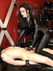 Liza's Leather Handjob