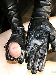 Liza's Leather Handjob