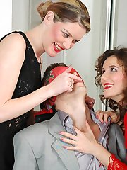 Frantic ass-splitting entertainment with cuties with strap-ons and hot guy