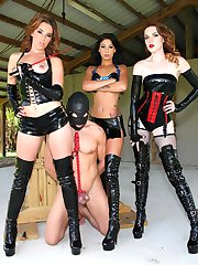 3 Mistresses with a tied up slave ready to CBT his balls.