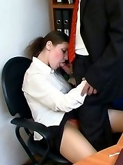 Sex-crazy co-worker eagerly tasting pantyhosed cherry pie under the table