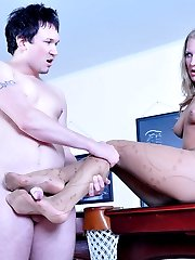 Dressed up hottie takes off her pumps for nylon foot worshiping and fucking