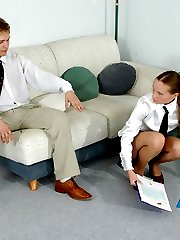 Sexy secretary in control top pantyhose getting talked into wild fucking
