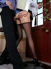 Slutty milf in barely black tights giving policeman new fucking sensation