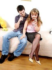 Drunk milf in sheer-to-waist hose seducing horny dude in control top tights