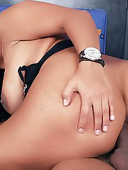 Pretty Latina with nicely tanned skin Vanessa shows off her outrageously hot ass and rides a cock