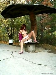 Hardcore bitch spreading and fucking in public