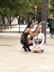 Longtime PD Fan and public whore Lucia Love is greedy to be used on Public Disgrace!!! Fetish Liza steps up to that task and brutally shames and humiliates this natural busty whore all over Budapest. Lucia barks like a dog, gets disgusting food smeared over her face, and then pissed on to wash it all off. This greedy anal slut can't get enough, she is humiliated with a hard pounding double penetration in front of a huge crowd.