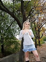 Lusty teenager strips her clothes in the outdoors - publicsexadventures.com