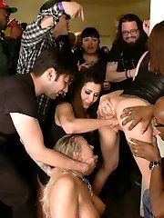 Angel Allwood makes for a slutty spectacle at a packed and rowdy house party. With the help of guest dom Gia DiMarco- absolute chaos ensues. Squirt fest, anal, DP, fisting, strap-on, face fucking orgiastic extravaganza!!