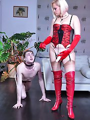 Hot domina makes her collared boy wear girlie panties for a strapon fuck