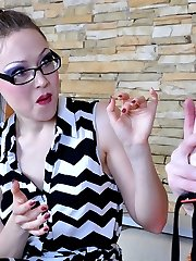 Dolled-up sissy talks a nerdy girl into strapon stuffing his throat and ass