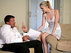 Couple got in debt and hot girlfriend ended up porked silly by the guys father