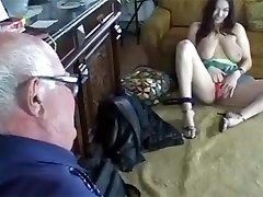 Busty girl fucks an old man
