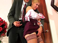 Well-hung boss using special disciplining methods drilling babes butthole