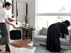 Hot big boobed hijab MILFie housewife Kylie Kingston is fucked doggy well